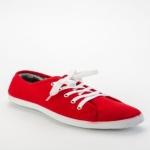 Lace Contrast Sneakers - Red