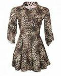 Nisa park Animal Print Patterned Dress Top - Brown