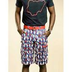 Ankara Cargo Shorts In Blue & Red