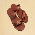 Sam P 2 Strap Men's Slippers- Brown