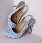 MISSGUIDED+Studded+Pointed+Sling+Back+Shoe+-+Blue