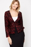 Collection London Laced Ruffle Hem Jacket - Black&red